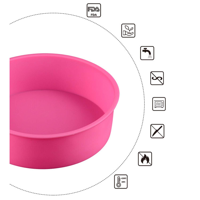 4 x runde Kuchenform Silikon Backform Kuchenform Geb/äck Backform 15,2 cm wei/ß//rot//lila//pink