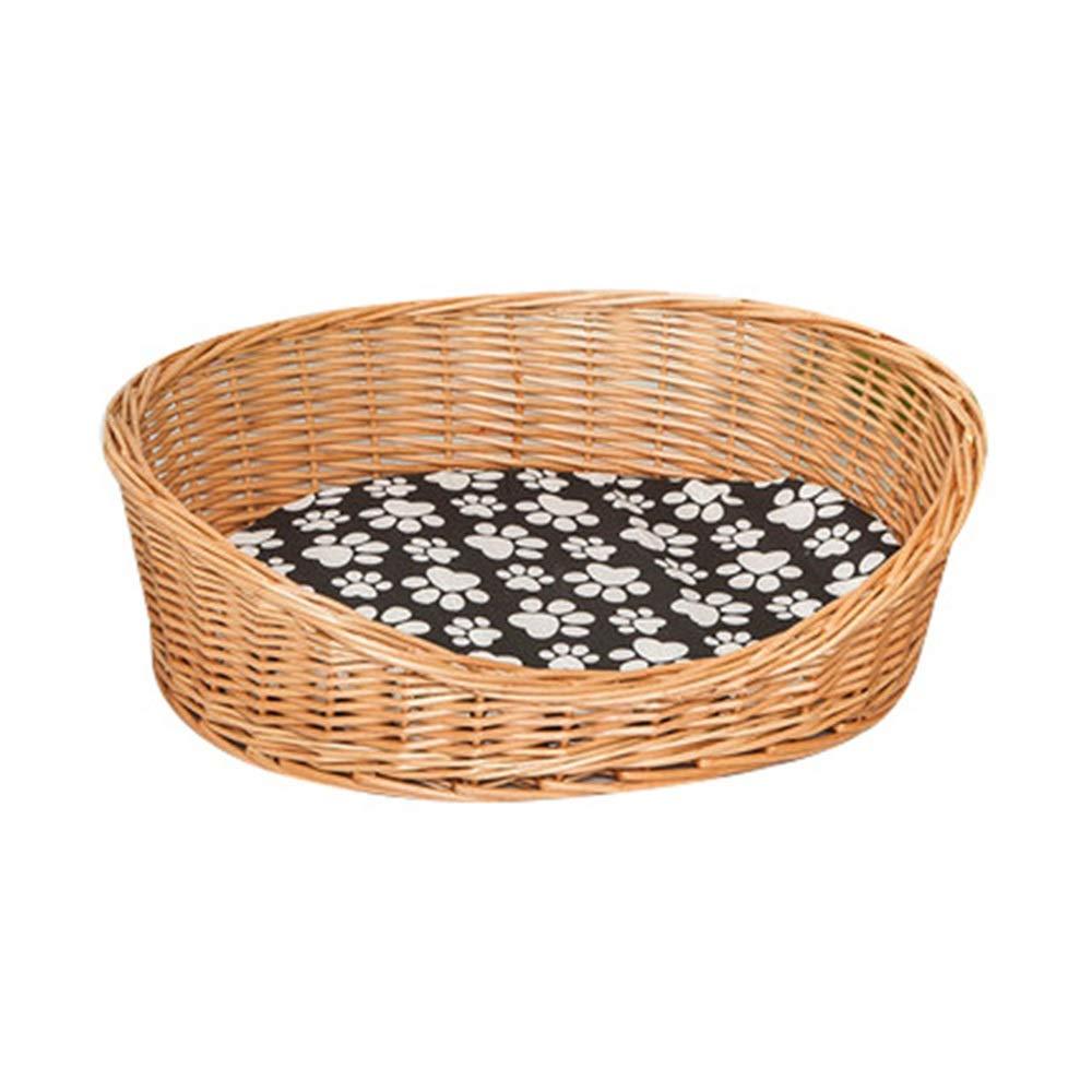 H 60x45cmZWYGXL Kennel Summer Cool Breathable Rattan Pet Bed Cat Nest Teddy Bichon Four Seasons General Purpose Washable (color   G, Size   55x40cm)