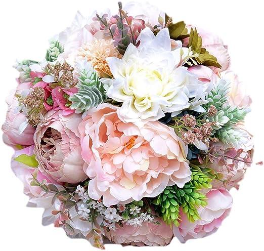 Amazon Com Handmade Romantic Roses Dahlia Peony Hydrangea