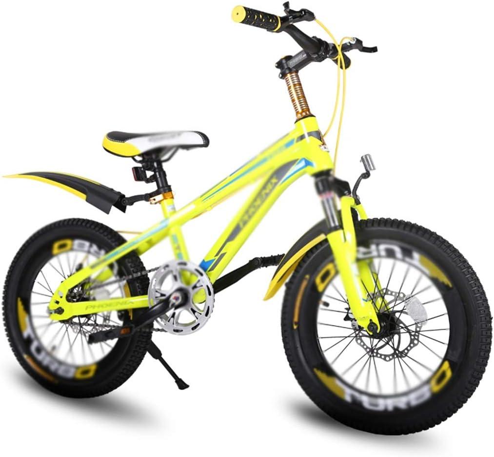 Bicicletas estudiantil de 7 velocidades montaña niño niña 18 Pulgadas, Marco de Acero de Alto Carbono (Color : Yellow, Size : 18inches)