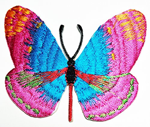 HHO Pink Butterfly Wild Animal Punk Rock Hippie Patch Embroidered DIY Patches, Cute Applique Sew Iron on Kids Craft Patch for Bags Jackets Jeans Clothes]()