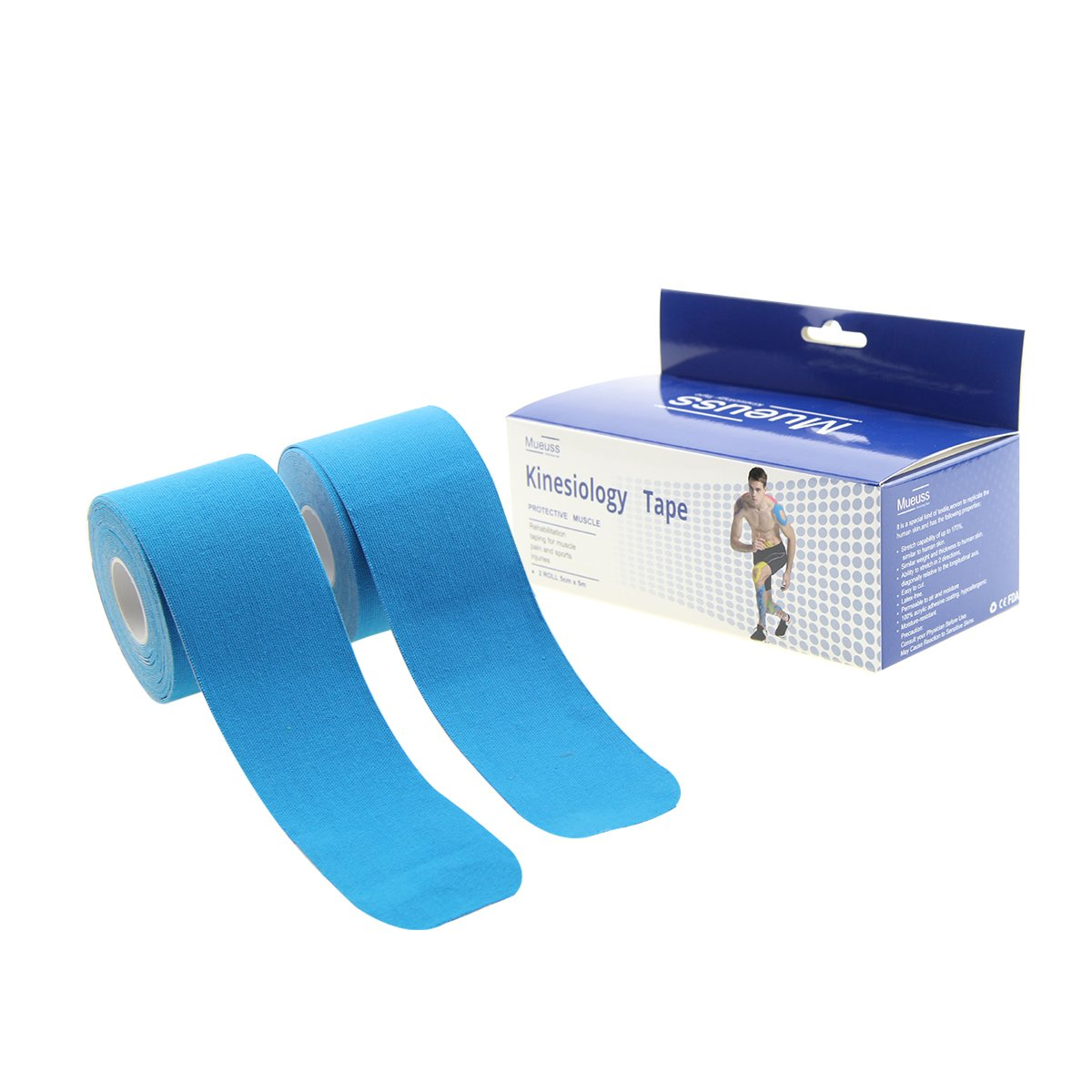Elastic Kinesiology Tape 20 Pre Cut 10 inch Profession Sports Therapeutic for Muscle & Joint Support Hypoallergenic 2 Roll Blue
