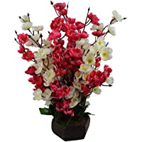 Sk Handloom Udyog Plastic Bonsai Blossom Artificial Flowers with Wooden Garden Decor Pot Home Decorative, Standard, Red and White
