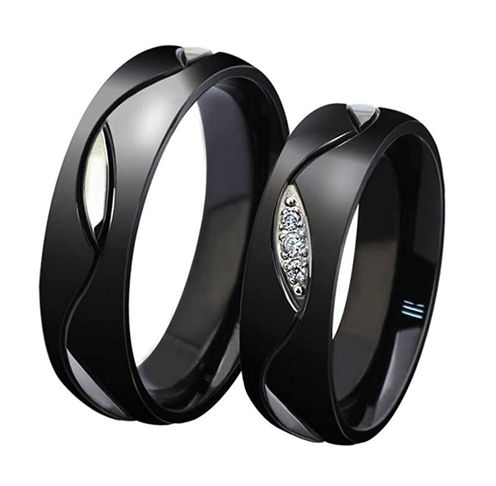 Daesar Mens Womens Wedding Bands Stainless Steel Rings Black CZ Inlay for Wedding with Gift Box