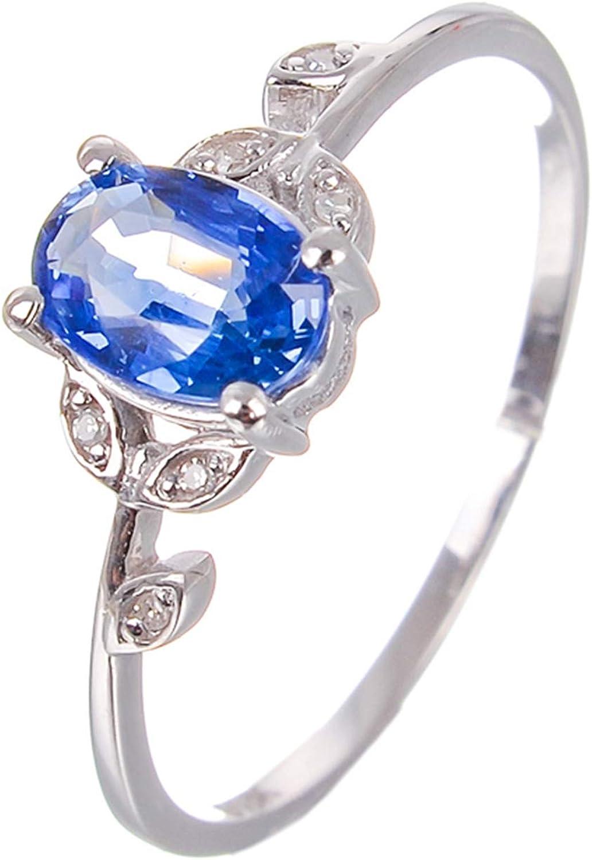 Daesar Anillos Compromiso Mujer Oro Blanco 18K Plata Azul Oval Zafiro Azul Talla 6,75-25