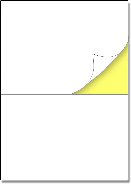 148.5 x 210 mm (A5), 25 hojas, A4 Etiqueta Adhesiva Blanca Pegatina - 2 etiquetas por hoja