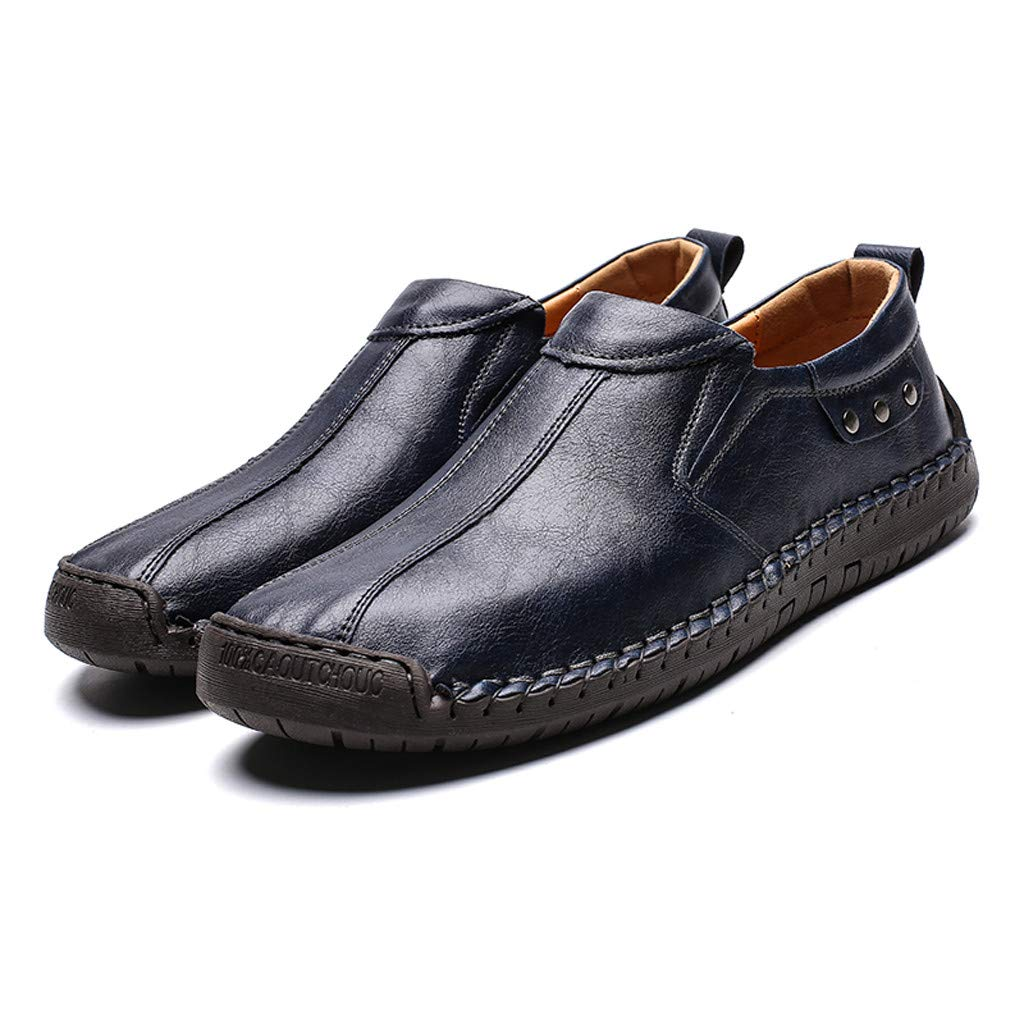 Flats Loafers Slip-on Men's Casual Leather Driving Breathable Walking Boat Shoes (US:11, Blue) by Suoxo Men Shoes