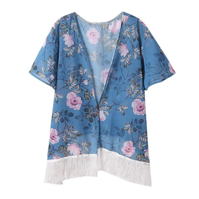 fcf4fa2f938 Women s Bathing Suit Cover Up Tassel Trim Swimsuit Floral Print Kaftan  Cardigan Sheer Kimono Beachwear at Amazon Women s Clothing store