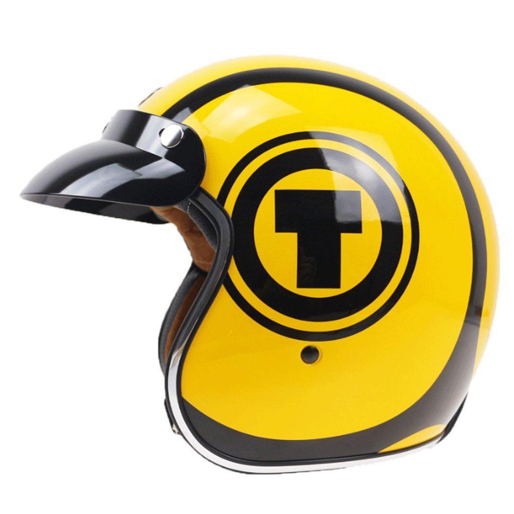 DGF ヘルメットレトロオートバイ内蔵レンズハレークルーズヘルメット機関車サンシェード軽量ヘルメットハーフヘルメット (色 : A, サイズ さいず : M) B07FM947W3  A Medium