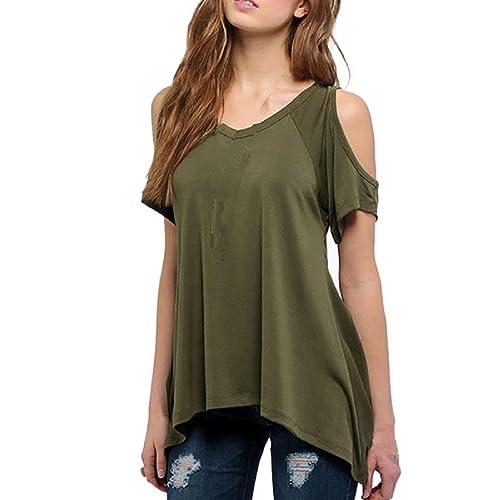 Tongshi Las mujeres con cuello en V del hombro de la camiseta de manga corta ocasional sólido del es...