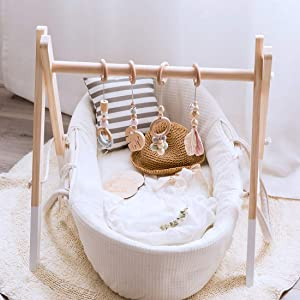 Let's Make Wood Baby Gym with 4 Wooden Baby Teething Toys Foldable Baby Play Gym Frame Activity Gym Hanging Bar Newborn Gift Baby Girl and Boy Gym