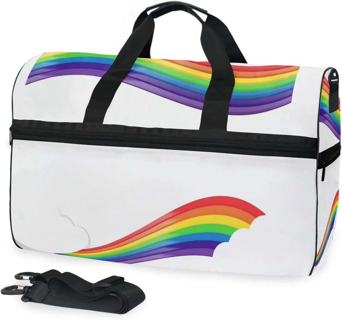 FANTAZIO Rainbow Band Sports Bag Packable Travel Duffle Bag Lightweight Water Resistant Tear Resistant
