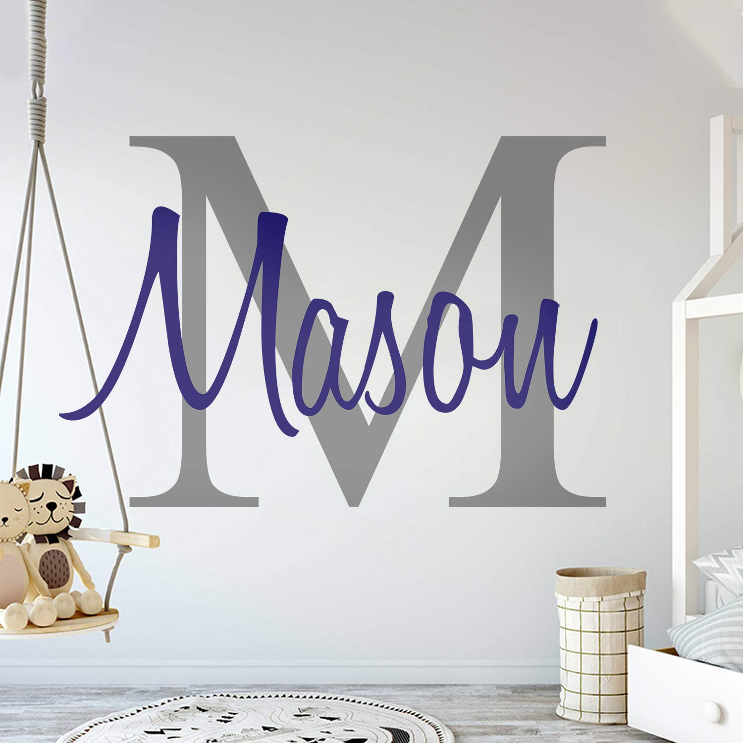 Custom Name & Initial - Premium Series - Baby Boy - Wall Decal Nursery for Home Bedroom Children (M511) (Wide 40'' x 26'' Height) by cryptonite