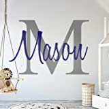"""Custom Name & Initial - Premium Series - Baby Boy - Wall Decal Nursery for Home Bedroom Children (M511) (Wide 22"""" x 15"""" Heigh"""