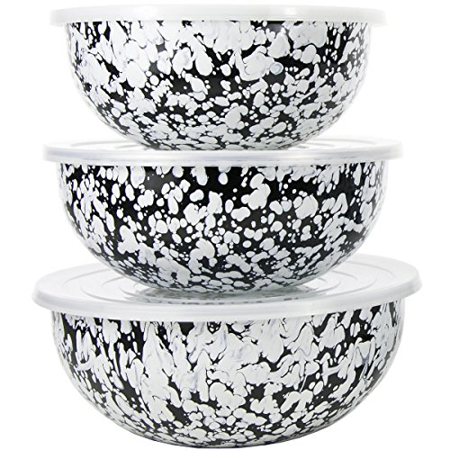 Enamelware - Black Swirl Pattern - Set of 3 Mixing Bowls with Lids