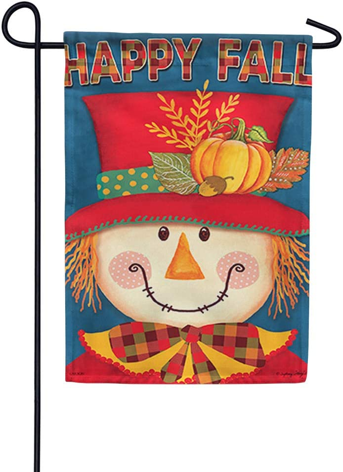 """Carson Flag Trends Decorative Outdoor Fall Scarerow Garden Flag - Bright Scarecrow Garden Flag - 12.5"""" x 18"""""""