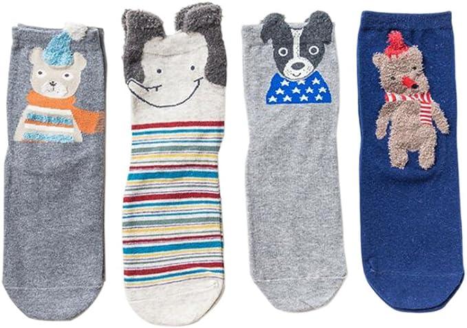 Fuyingda 4 pares niñas niños niños niños calcetines de invierno algodón animal calcetín caja de regalo 3-5 Años(Estilo 4): Amazon.es: Ropa y accesorios