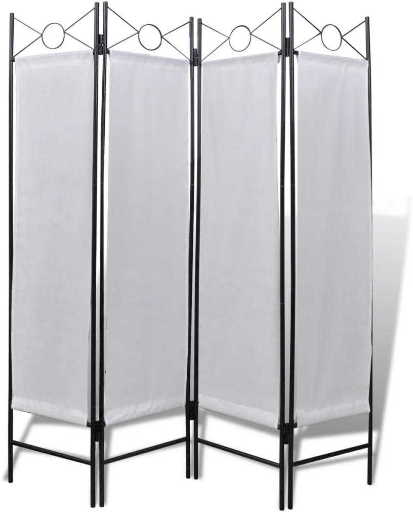 vidaXL Biombo de 4 Paneles Blanco 160x180 cm Panel Divisor Separador Espacios: Amazon.es: Hogar