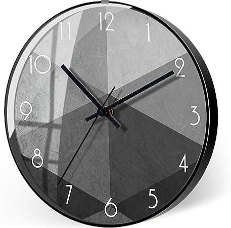 Imagen deC-J-Xin Gris Cuarzo del Reloj, Modelo Redondo Arte Reloj de Pared silencioso Reloj de Pared geométrica Reloj de Pared Decoración Hotel Sala de Reuniones Reloj de Pared (Color : D, Size : 12 Inches)