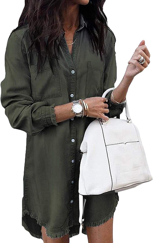Women Denim Shirt Dresses Long Sleeve Distressed Jean Dress Button Down Casual Tunic Top