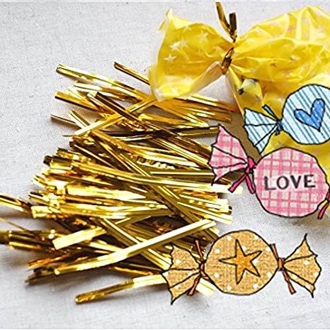 JoyGlobal Aluminium Golden Chocolate Twisters Ribbon Ties Twist Ties Chocolate Decorating Tool, 400-pieces, Gold Baking Tools & Accessories at amazon