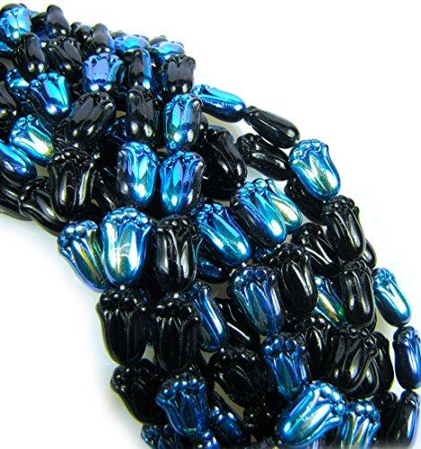 Czech Glass Beads, 11x7mm, Iridescent Tulip Flower, Qty: -