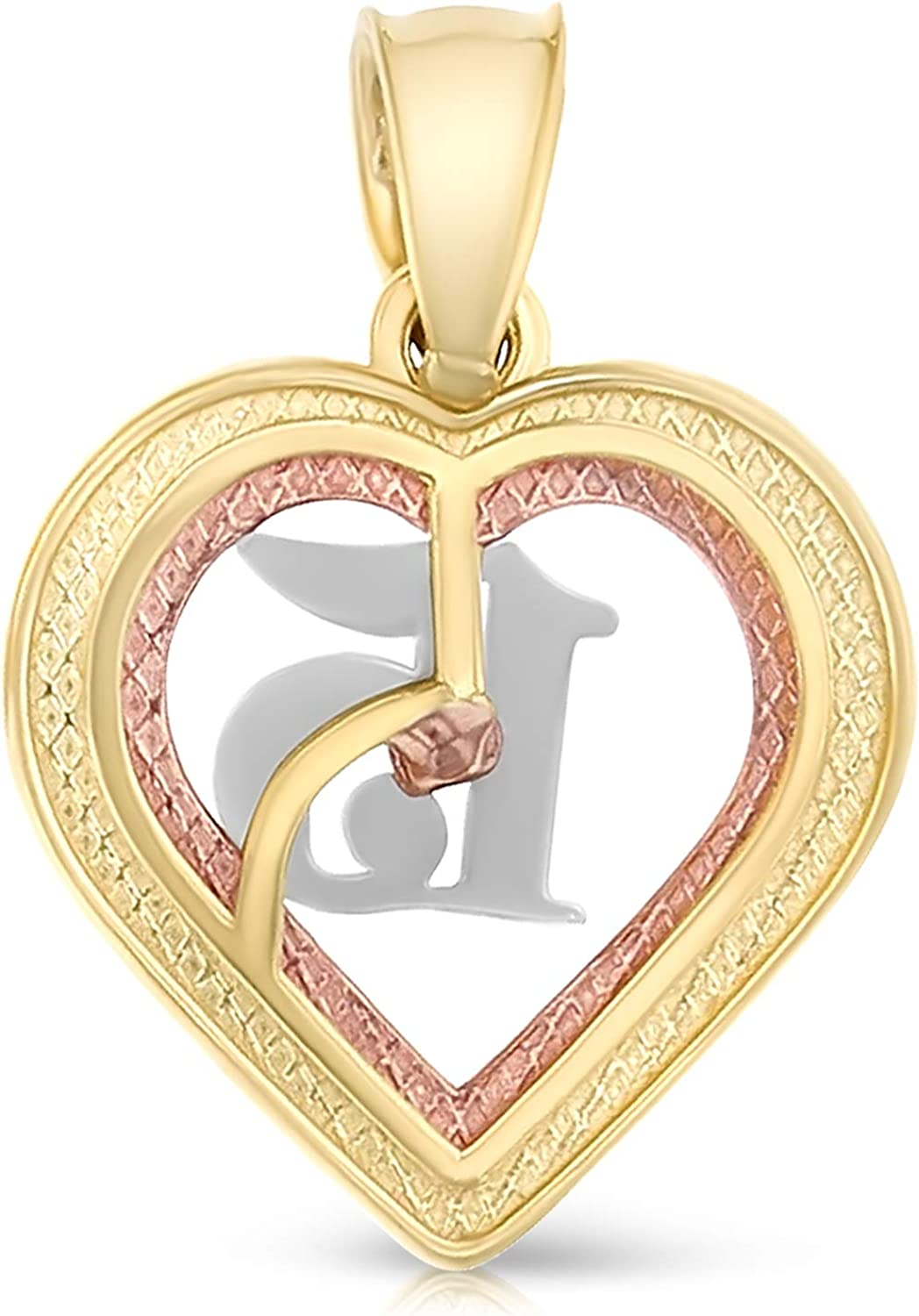 14K White Gold 15 Years Quinceanera Years Heart Charm Pendant with 1.5mm Rope Chain Necklace