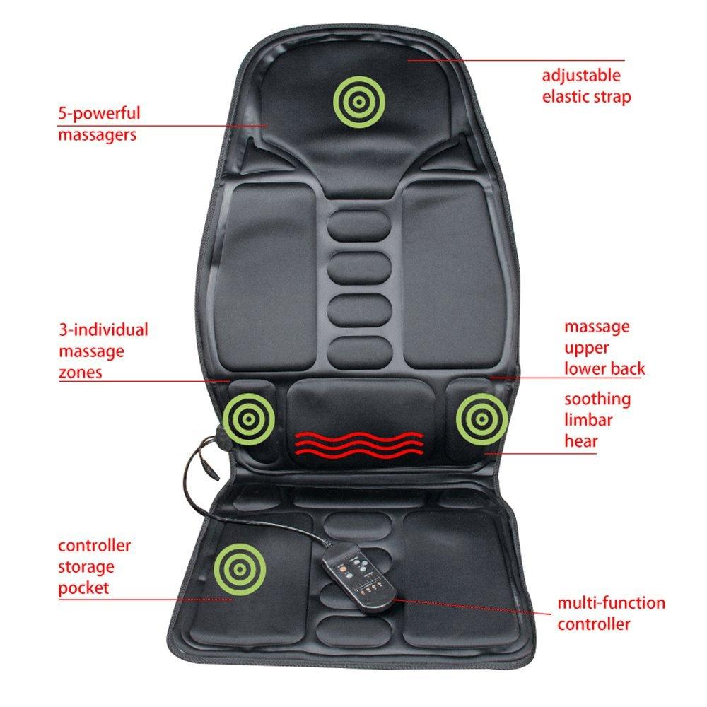 Finlon Vibration Back Massage Seat Massaging Cushion with Heat and Vibrating – Massage Full Back, Neck, Shoulder Thigh (Black) by Finlon