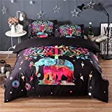 AMZ 3 PCS Duvet Cover Set with 2 Pillow Shams Colorful Red Elephant Painting Pattern Bedding Sets, Mandala Pattern,Bohemia Exotic Design (Queen)