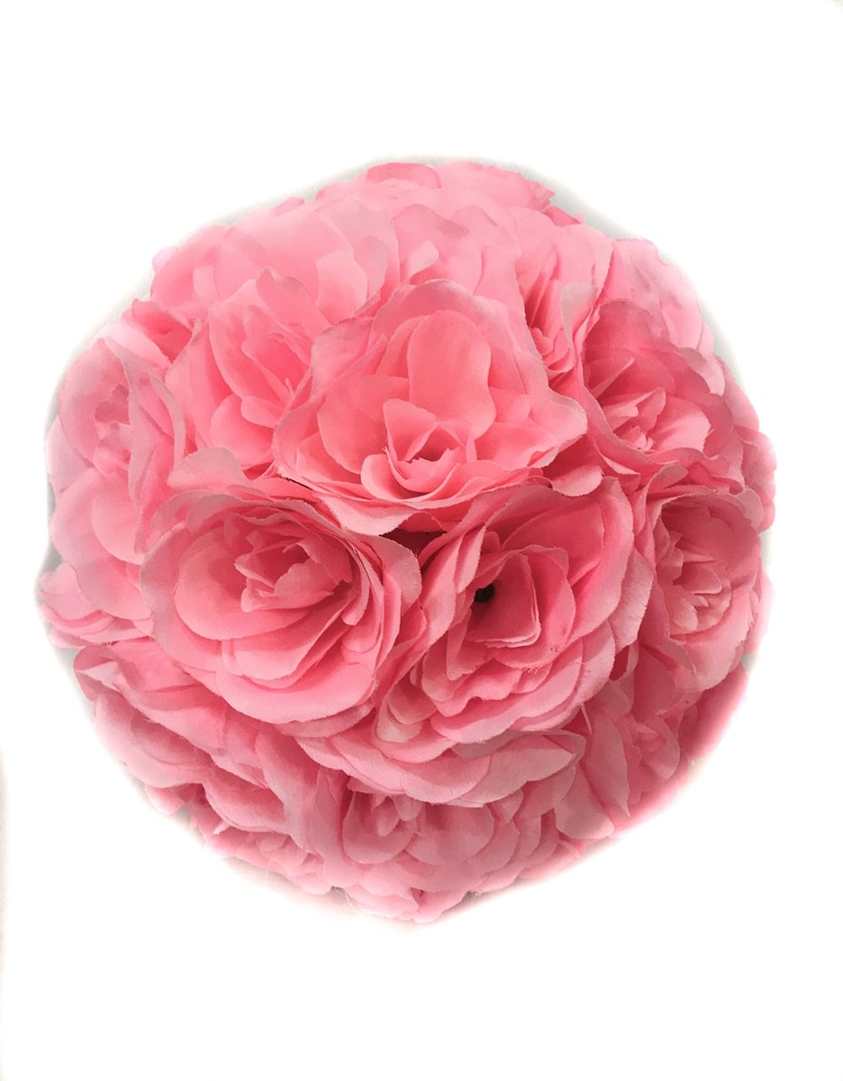 Ben-Collection-Fabric-Artificial-Flowers-Kissing-ball-10-Inch-Pink-Wedding-Party-Favors