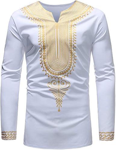 BOLAWOO Camisa Hombre Tops Diario Blusa Lujoso Elegante Africano Estampado Mode De Marca Manga Larga Dashiki Outwear Otoño Invierno: Amazon.es: Ropa y accesorios