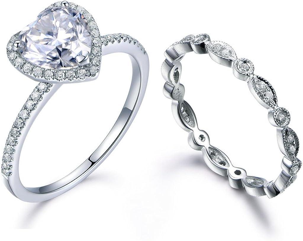 3Ct Heart Cut Moissanite Halo Bridal Set Engagement Ring 14K White Gold Finish
