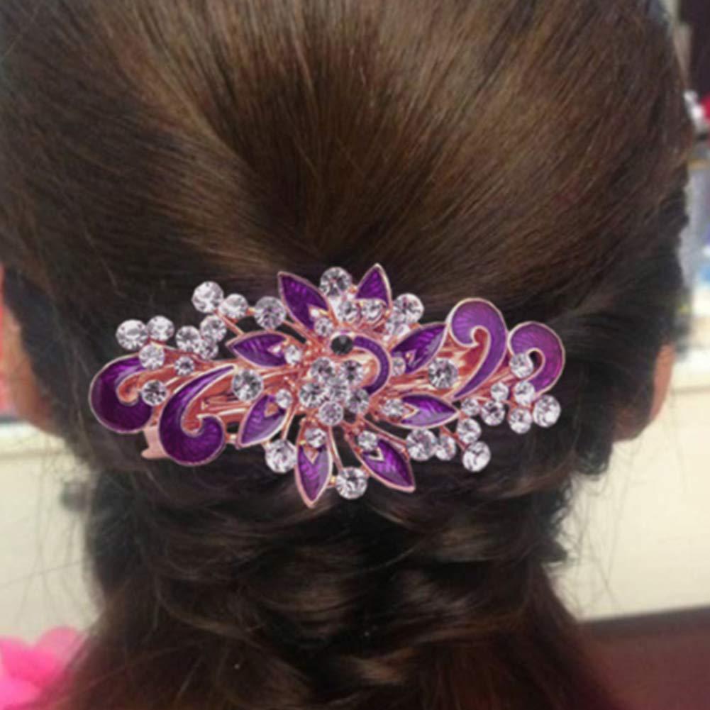 Damen Schleife Glaenzend Kristallstein Dekor franzoesisch Haarspange Clip Kla WV