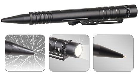 VisorTech Kubotan: 4in1-Tactical Pen mit Kugelschreiber, LED-Licht, Glasbrecher (Beleuchteter Kugelschreiber)