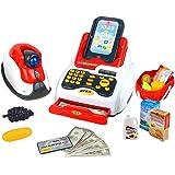 Nuheby Caja Registradora con Escáner, Dinero de Juguete, Sonido y Luz, 18pcs Accesorios de Juego de rol de Supermercado, Simulación y Imaginación Juguetes Educativos para Niños de 3 4 5 Años