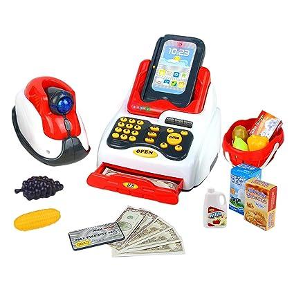 Conjunto de Juguete de Caja Registradora con Escáner, Dinero de Juguete, Sonido y Luz