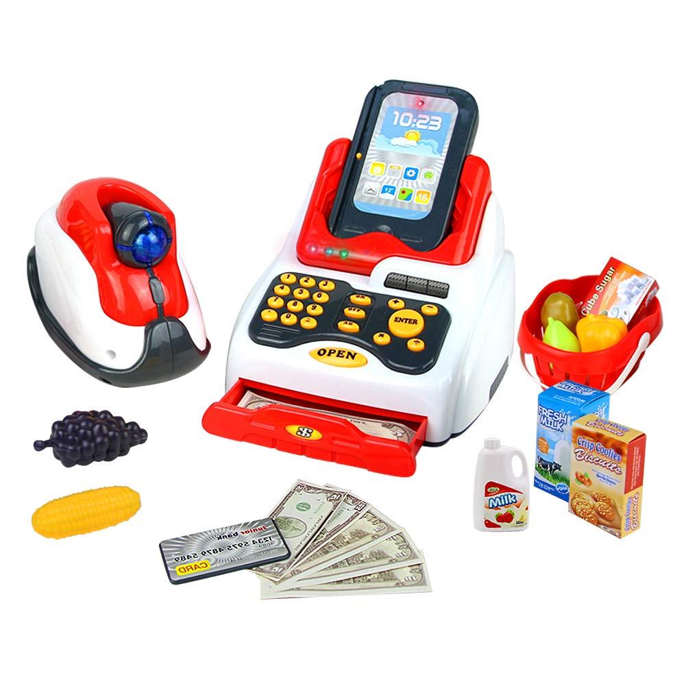 Conjunto de Juguete de Caja Registradora Juguete con Escáner, Dinero de Juguete, Sonido y Luz, 18pcs Accesorios de Juego de Rol Supermercado de Juguetes, Simulación Juego de Imaginación Juguetes Educativos para Niños de 3 4 5 Años