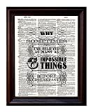 Dictionary Art Alice in Wonderland Quote - Printed on Upcycled Vintage Dictionary Paper - 8