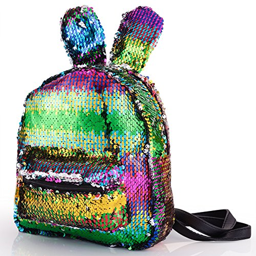 (Magic Sequins Backpack with Cute Rabbit Ear Small Fashion Flip Sequin Shoulder Bag Schoolbag Daypack Knapsack for Travel Daily Beach Women Kids Girls Birthday Gifts, Reversible Multicolor to Silver)