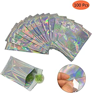 100 Pcs Hologram Cellophane Treat Bags Aluminum Foil Self Adhesive Halloween Party Favor Bags Food Grade Loot Bags For Candy, Cookies, Snack, 4.52 x 6.49 x 1.57inch