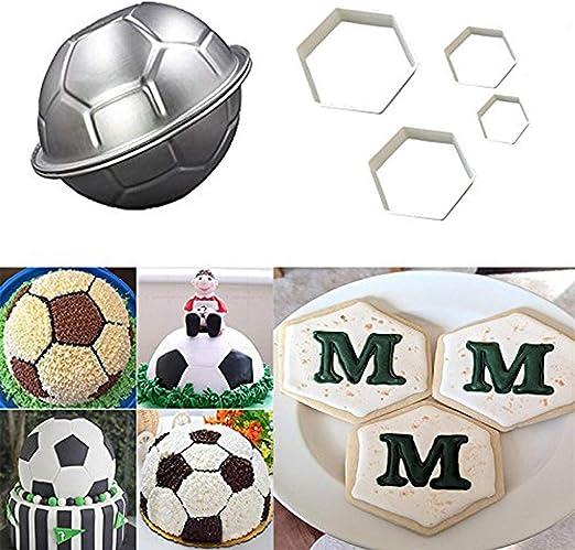 LQQDD - Juego de moldes para tartas y galletas de fútbol con forma ...