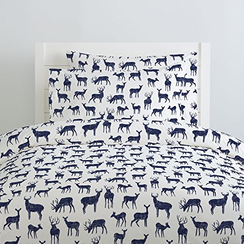 (Carousel Designs Windsor Navy Deer Duvet Cover Twin Size - Organic 100% Cotton Duvet Cover - Made in The USA)