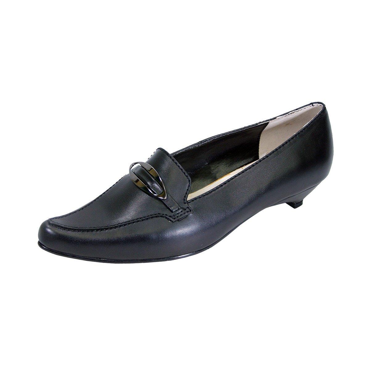 Peerage Louise Women Wide Width Smart Casual Leather Flat Pumps with Kitten Heels (Size/Measurement) B079TD7KZ2 9 E|Black
