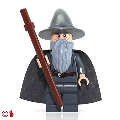 Lego The Lord of the Rings Minifigure: Gandalf the Gray Wizard (with Staff): Toys & Games