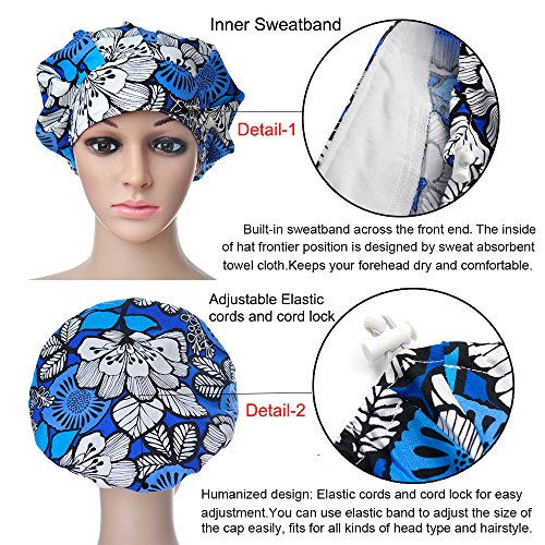 Opromo Cotton Bleach Friendly Banded Adjustable Scrub Cap Sweatband Bouffant Hat-Assorted 7 by Opromo (Image #3)