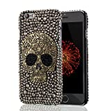 New Fashion 4.7-Inch Handmade Bling Rhinestone Diamond Crystal Skull Hard Case for Apple iPhone 6 / 6S - Black