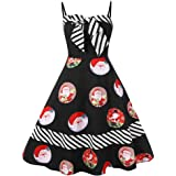 Qootent Women Christmas Plus Size Bow Color Block Striped Santa Print Vintage Dress