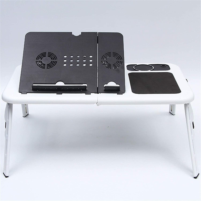 Mesa ordenador portatil, Escritorio plegable portátil Ajustable USB Dual Fans de enfriamiento portátil Tabla de estudio del soporte del soporte del portátil con el soporte del taza del cojín de ratón