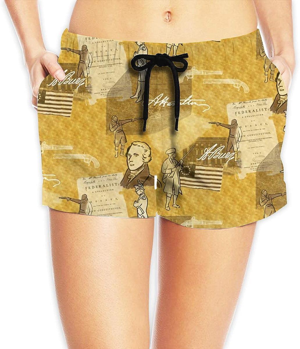 Women Alexander Hamilton Summer Floral Printed Beach Shorts Board Shorts Beach Quick Dry Fabric