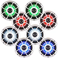 Wet Sounds Bundle: Four pairs of XS 650 Series Silver Grill 6.5 Speakers w/ RGB LED. 100 Watts RMS Each